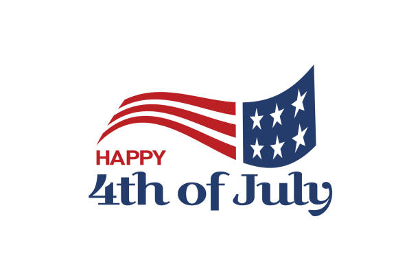 usa flag and 4th of july text. logo celebration - happy 4th of july stock illustrations