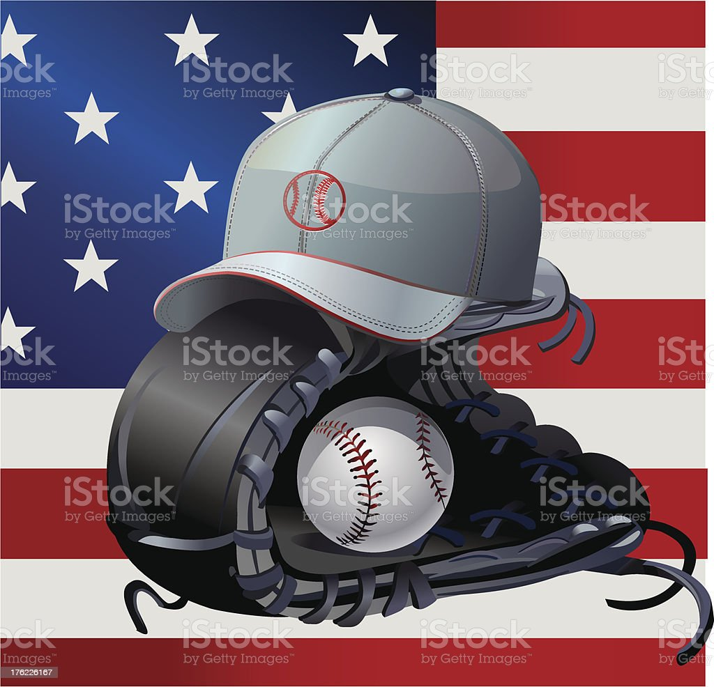 USA flag and Baseball  cap royalty-free stock vector art