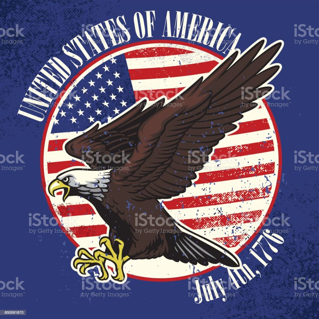 USA flag and eagle with dirty texture vector art illustration