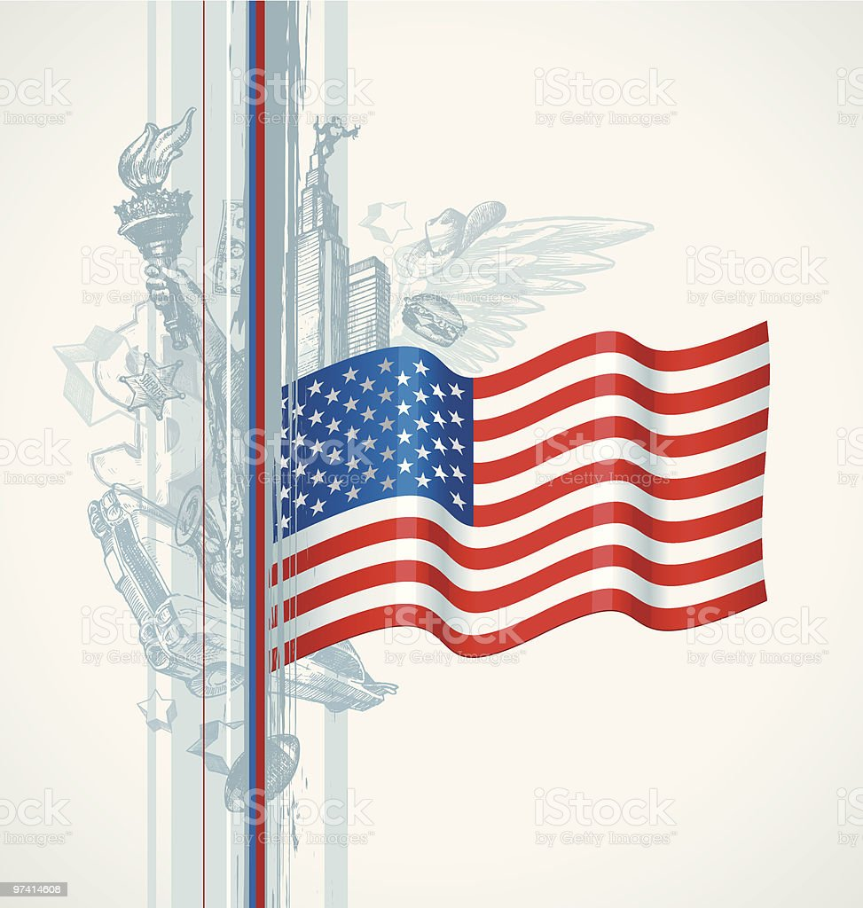 USA flag and hand drawn attributes of the American life royalty-free stock vector art