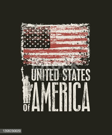 istock US flag and inscription United States of America 1205230020