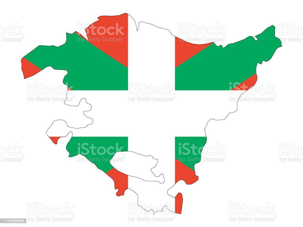 Ilustración de Bandera Y Mapa Combinados De La Comunidad Autónoma Española  De Euskadi y más Vectores Libres de Derechos de Bandera