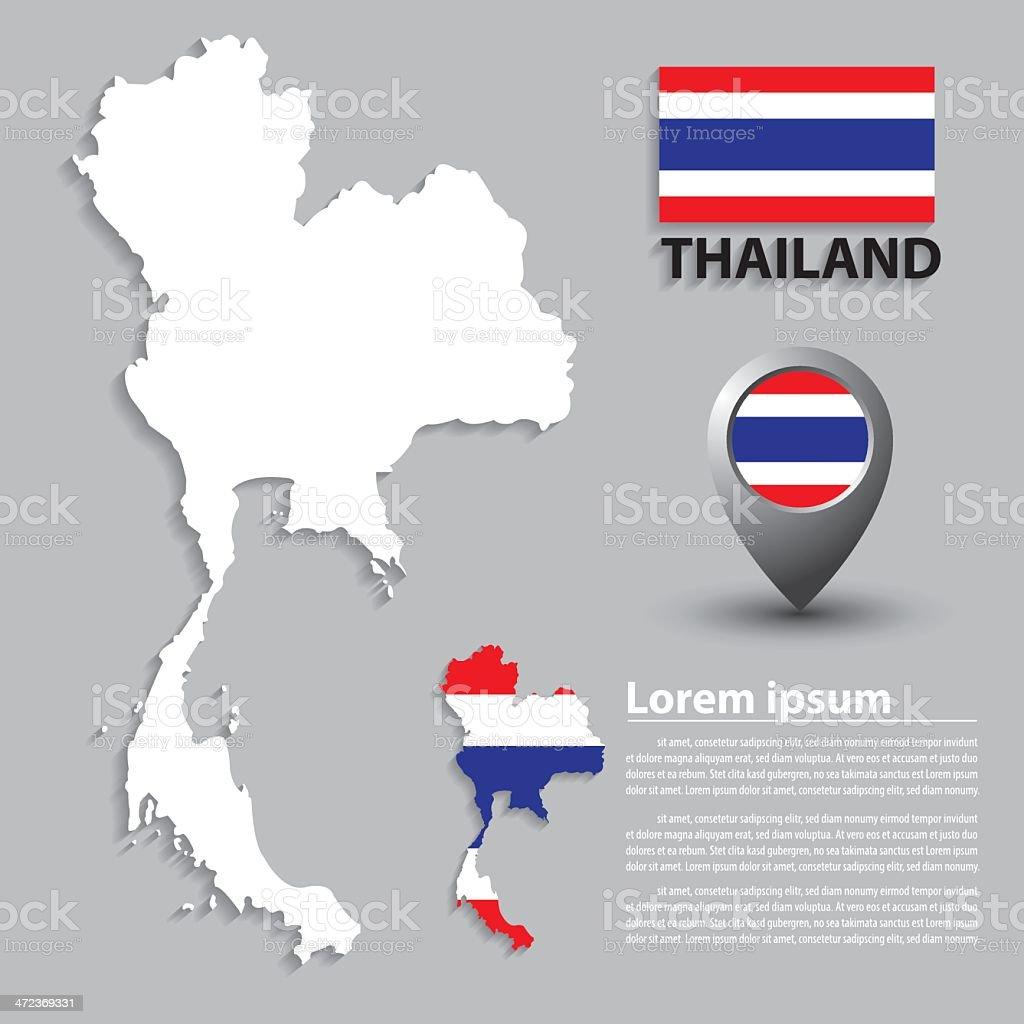 タイ旗&地図 ベクターアートイラスト