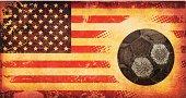 USA Flag and Old Football