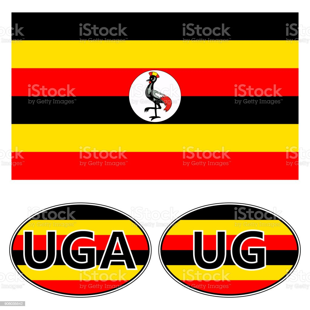 Flag And Stickers On The Car Of Uganda Vector Sticker Flag