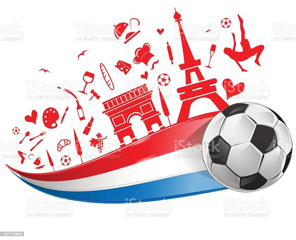 FRANCE flag and symbol  with soccer ball vector art illustration
