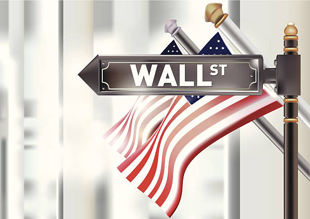 U.S. Flag and the Wall street sign. U.S. Flag and the Wall street sign. wall street stock illustrations