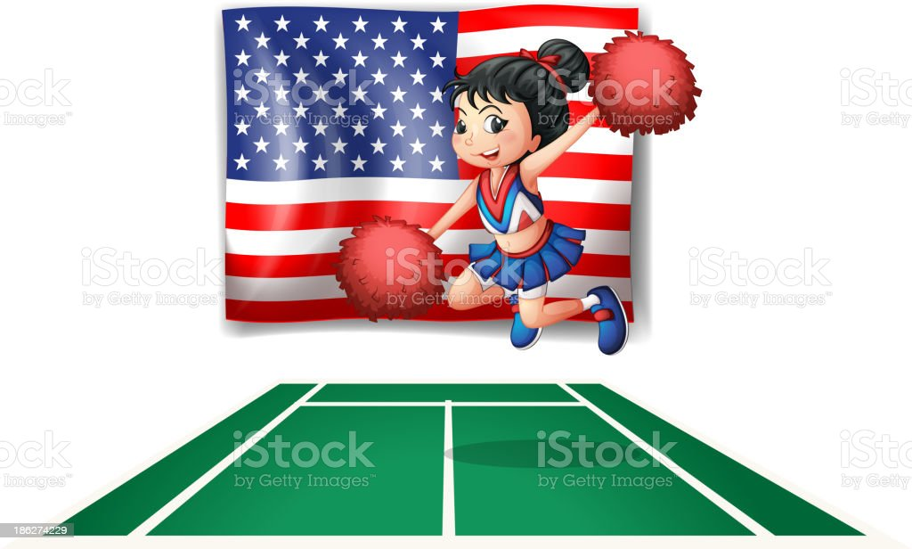 USA flag and the young cheerdancer royalty-free stock vector art