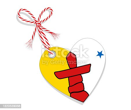 """istock Flag as a heart """"I Love Nunavut"""" with a cord string, Vector illustration isolated on white background 1320539058"""