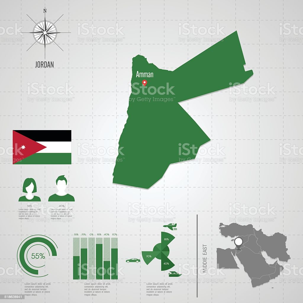 JORDAN flag Asia World Map. vector art illustration