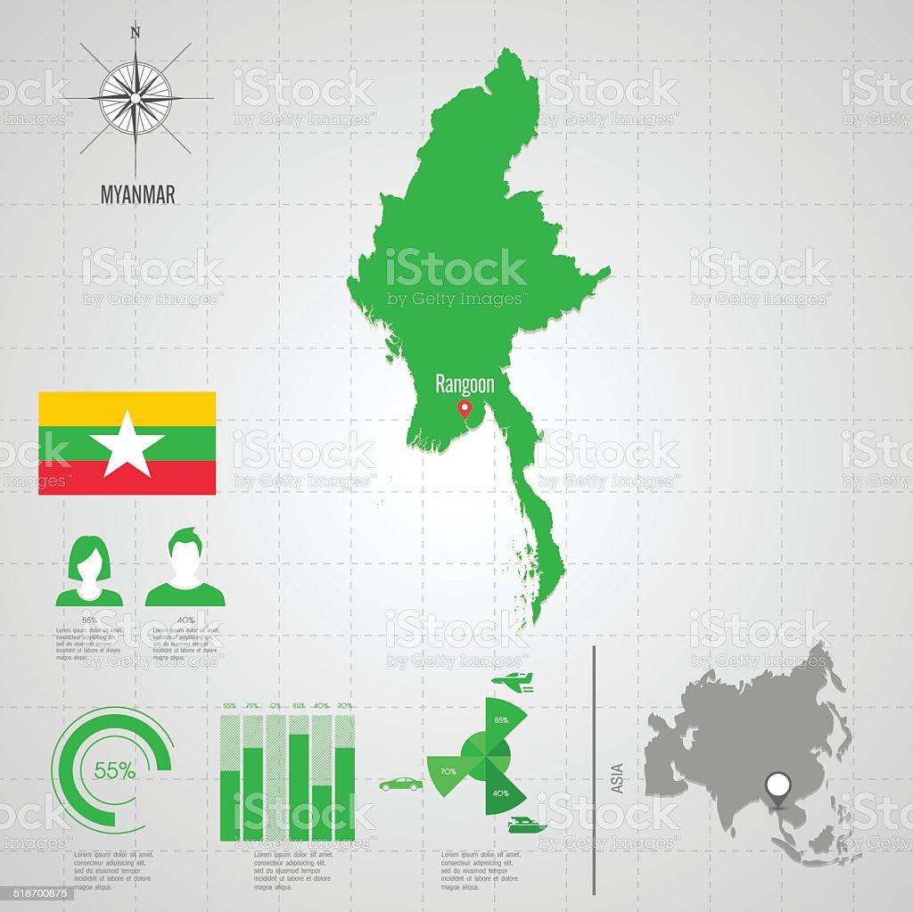 MYANMAR flag Asia World Map. vector art illustration