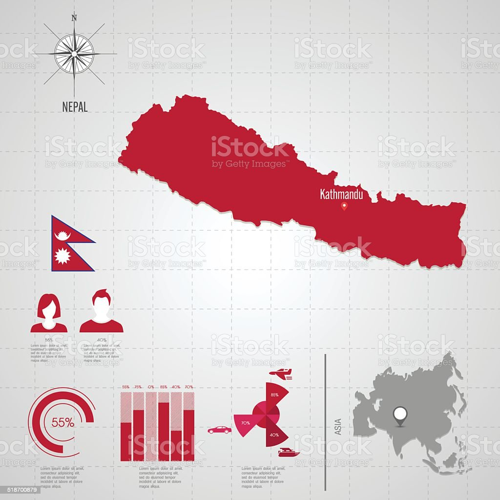 Nepal In The World Map.Nepal Flag Asia World Map Stock Vector Art More Images Of Adult
