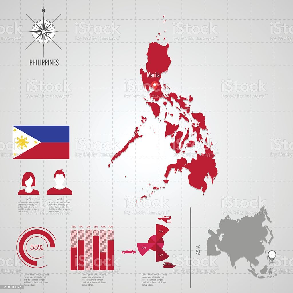 PHILIPPINES flag Asia World Map. vector art illustration