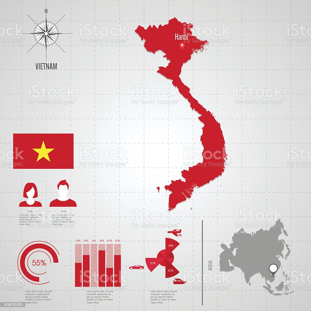 Vietnam Flag Asia World Map Stock Vector Art & More Images of Adult ...
