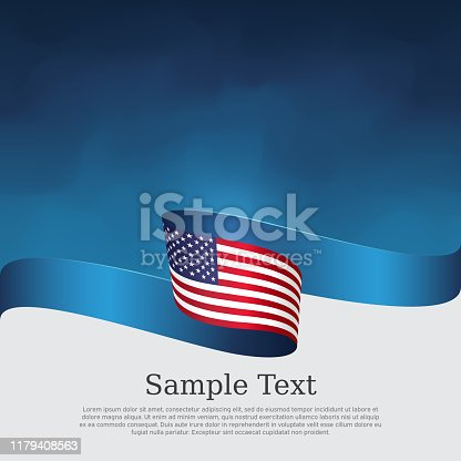 USA flag background. Wavy ribbon color flag of usa on a blue white background. National american poster. Vector tricolor design. State american patriotic banner, cover, flyer