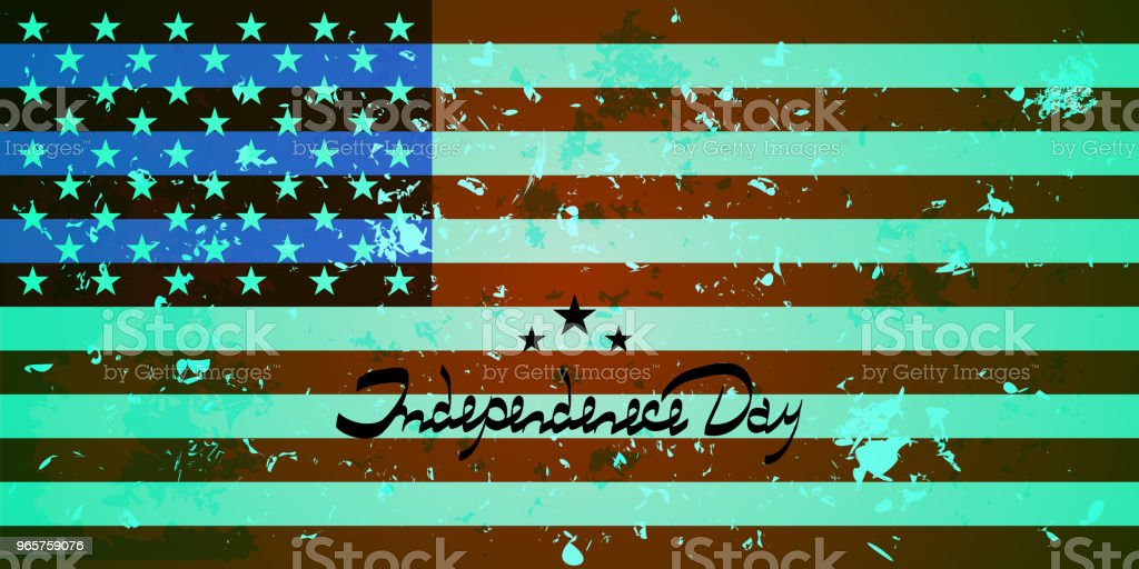 U.S. flag. Background with America flag. Lettering-independence day. - Royalty-free Antique stock vector