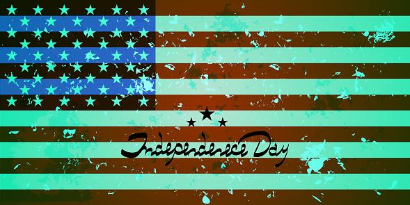 Amerikaanse Vlag Achtergrond Met Amerika Vlag Beletteringonafhankelijkheidsdag Stockvectorkunst en meer beelden van Afbeelding