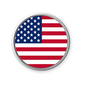 A round United States of America national flag badge. Vector illustration.