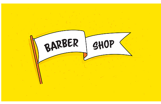 Flag Banner with Text Barber Shop. Retro Style Design.