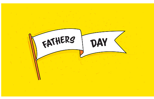 Flag Banner with Text Father's Day. Retro Style Design.