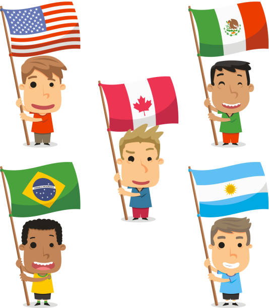 Flag Bearer Kids from America Mexico Canada Brazil Argentina vector art illustration