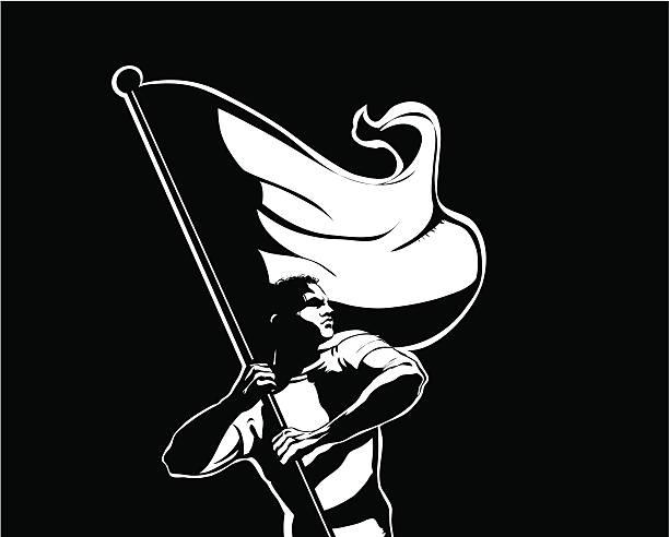 Flag bearer vector art illustration