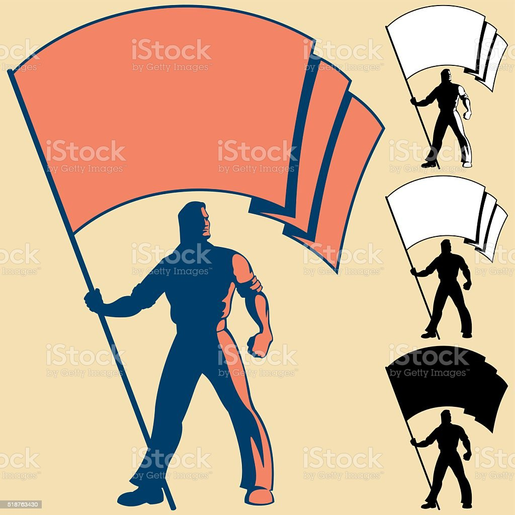 Flag Bearer vector art illustration