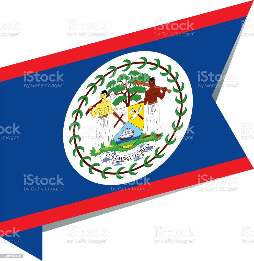 Flag Belize vector art illustration