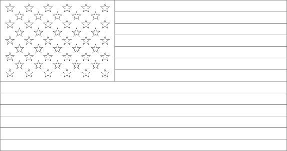 USA Flag Black & White Outlines Vector