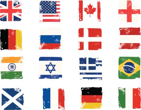 Flag block grunge icons