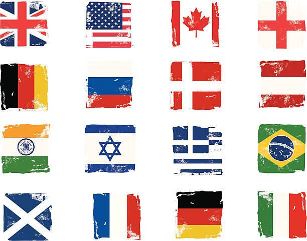 Flagge block grunge-Symbole – Vektorgrafik