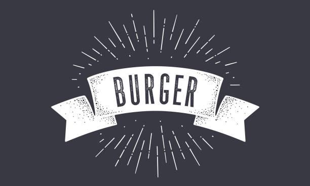 illustrazioni stock, clip art, cartoni animati e icone di tendenza di flag burger. striscione bandiera vecchia scuola con testo - hamburger