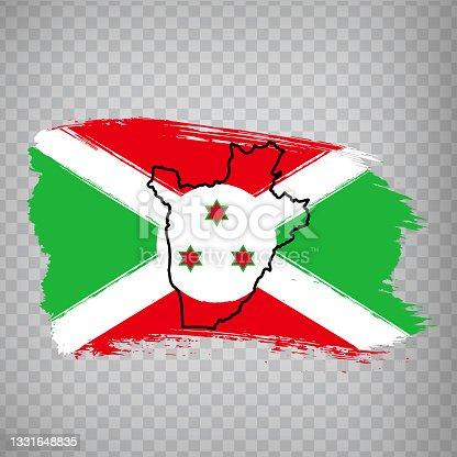 istock Flag  Burundi from brush strokes and Blank map  Burundi. High quality map Republic of Burundi and flag on transparent background.  Africa.  EPS10. 1331648835