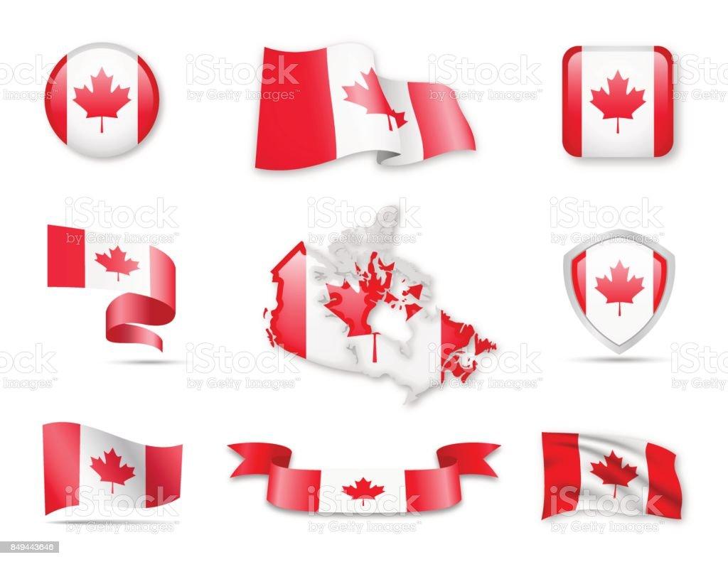 Coleção de sinalizador - conjunto de Canadá - ilustração de arte em vetor