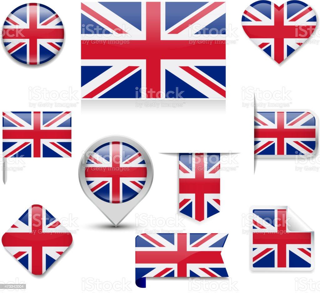 UK Flag Collection vector art illustration