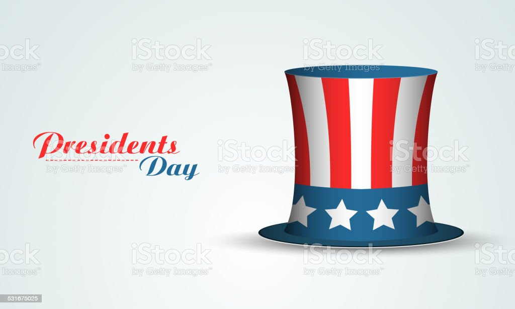 Glossy United State of American flag color hat on shiny sky blue...