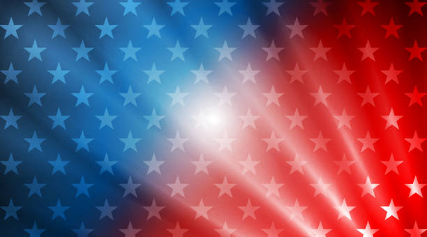 USA flag colors, stars and rays abstract background vector art illustration