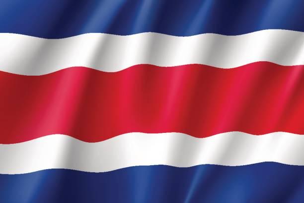 Costa Rica realistische Flaggensymbol – Vektorgrafik