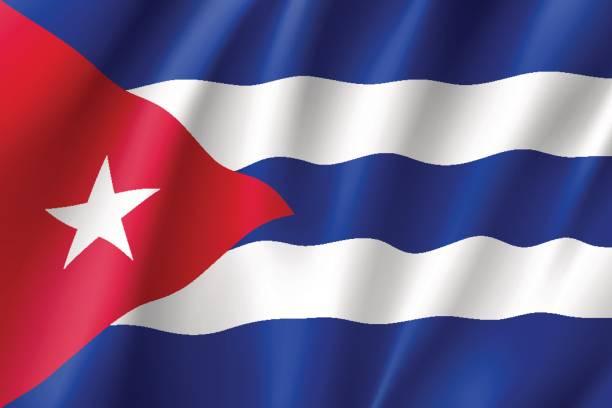 Realista icono de bandera Cuba - ilustración de arte vectorial