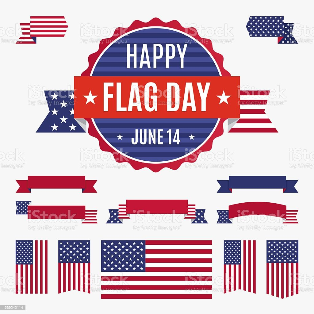 USA Flag day badge, banners and ribbons royalty-free usa flag day badge banners and ribbons stock vector art & more images of american culture