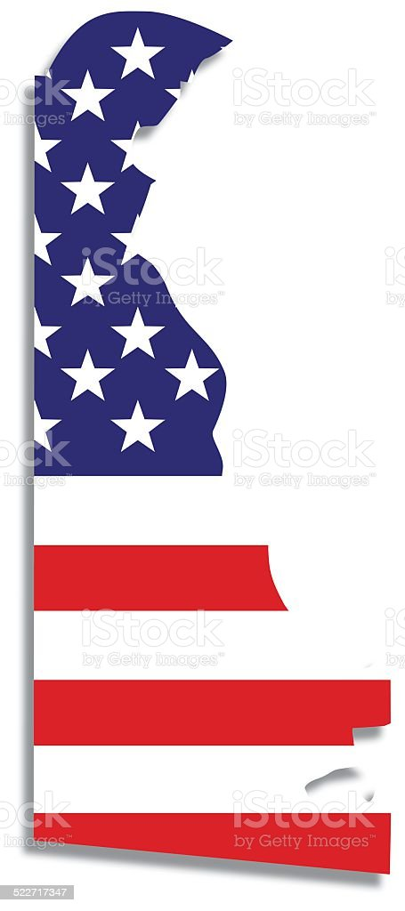 Usa Flag Delaware Map Stock Vector Art IStock - Delaware on the us map