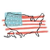 USA flag design hand drawn painted