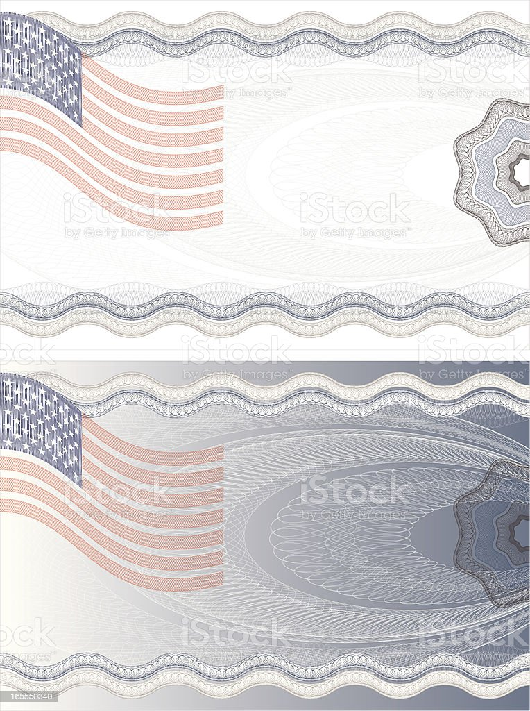 US Flag Diploma Certificate  Ticket royalty-free stock vector art