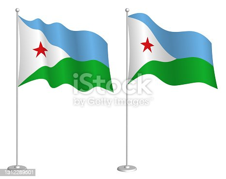 istock flag Djibouti on flagpole waving in wind. Holiday design element. Checkpoint for map symbols. Isolated vector on white background 1312289501