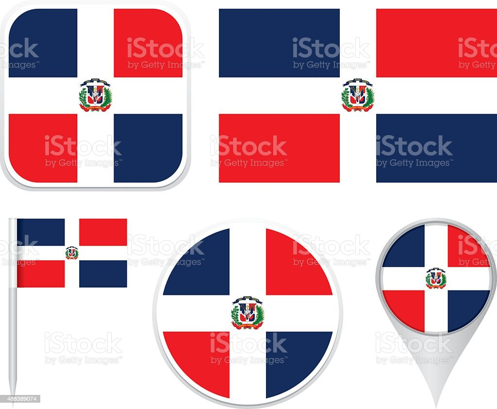 Flag Dominican Republic vector art illustration