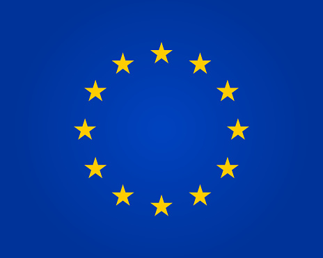 Flag eu. European union. Symbol of europe. Stars in round. Circle icon for schengen. Euro ring of community. Sign of parliament, standards and council of europa. Blue banner with yellow stars. Vector