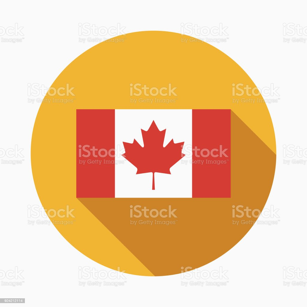 Flag Flat Design Canadian Icon with Side Shadow vector art illustration