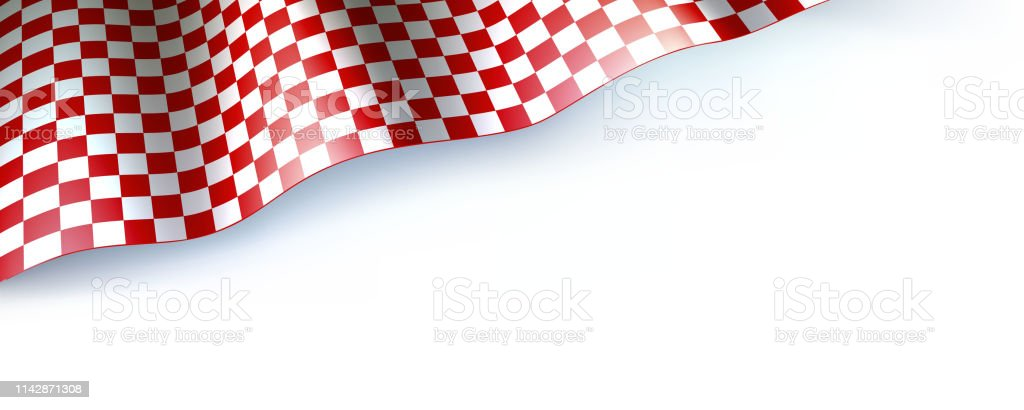 Flag for car race or motorsport rally on white. Checkered flag, red...