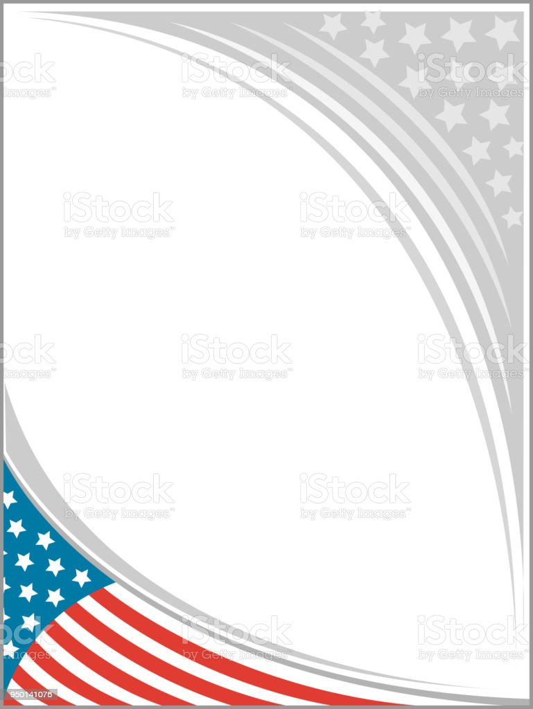 Usa Flag Frame Template For Printing Newspapers Advertising Stock ...