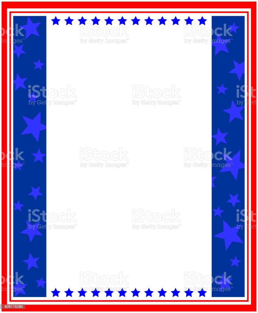 USA flag frame template vector art illustration